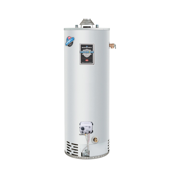 Bradford White® RG250T6N Gas Water Heater, 40000 Btu/hr Heating, 50 gal Tank, Natural Gas Fuel, Atmospheric Vent, 43 gph Recovery, Domestic
