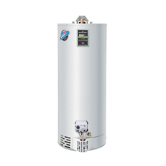 Bradford White® Eco-Defender Safety System® URG250T6N Gas Water Heater, 40000 Btu/hr Heating, 50 gal Tank, Natural Gas Fuel, Atmospheric Vent, 43 gph Recovery, Domestic