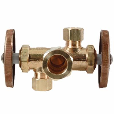 BrassCraft® CR1901DVX R Multi-Turn Dual Outlet/Dual-Shut-Off Angle Stop, 1/2 x 3/8 x 3/8 in Nominal, Compression, 125 psi, Brass Body, Rough Brass, Domestic