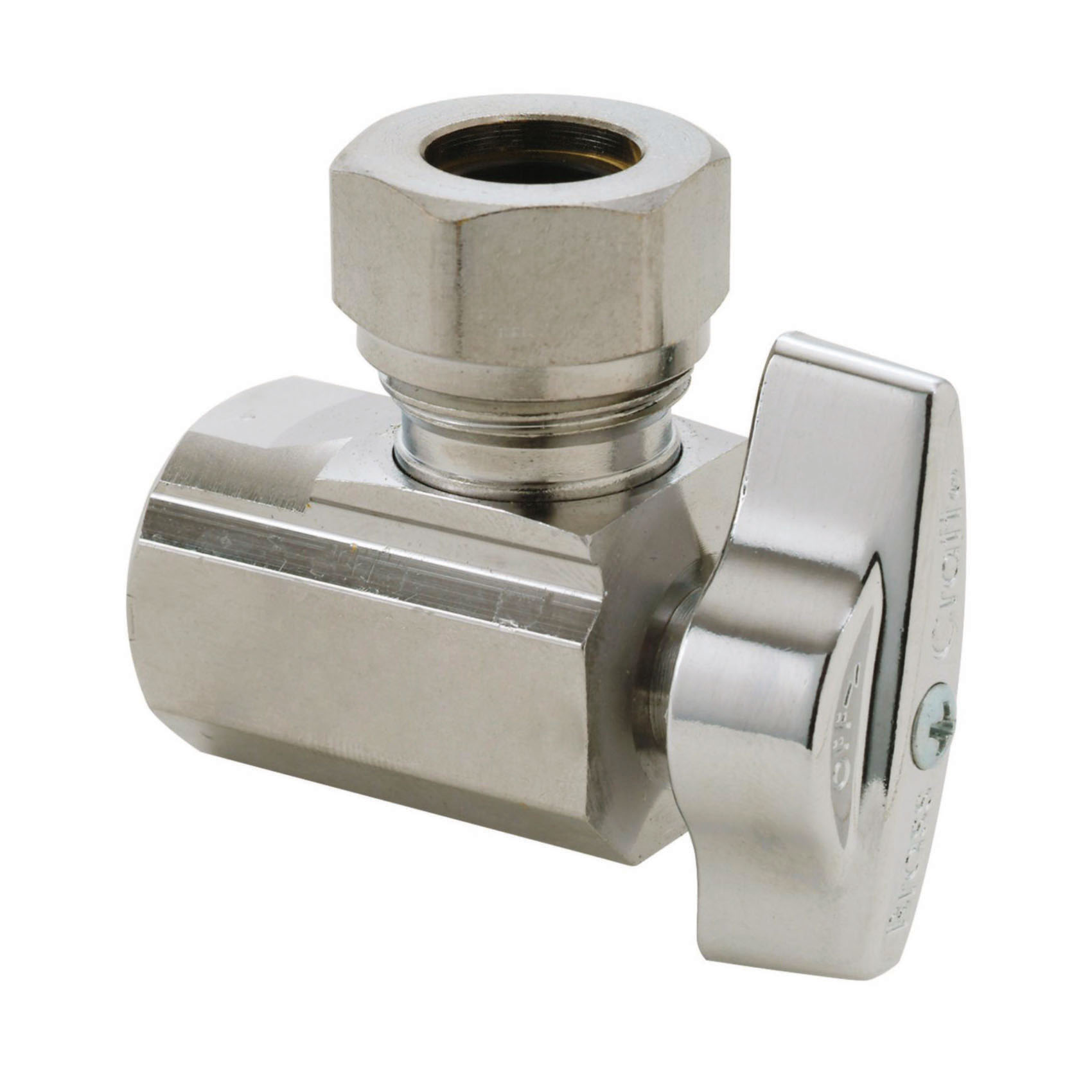 BrassCraft® KT3301X C KT™ 1/4 Turn Angle Ball Stop, 1/2 x 7/16 or 1/2 in Nominal, FNPT x Slip Joint, 125 psi, Brass Body, Polished Chrome, Domestic