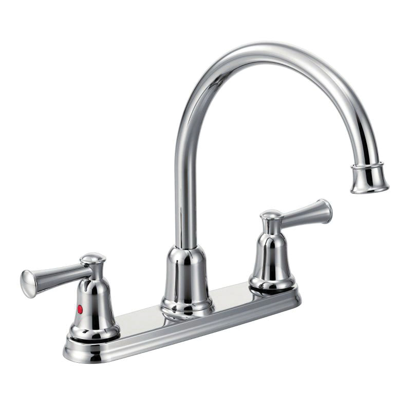 CFG CA41611 Capstone® Kitchen Faucet, 1.5 gpm Flow Rate, 8 in Center, High-Arc Spout, Polished Chrome, 2 Handles, Import