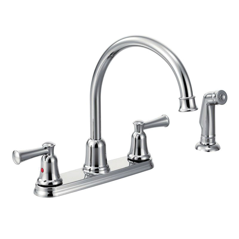 CFG CA41613 Capstone® Kitchen Faucet, 1.5 gpm Flow Rate, 8 in Center, High-Arc Spout, Polished Chrome, 2 Handles, Import