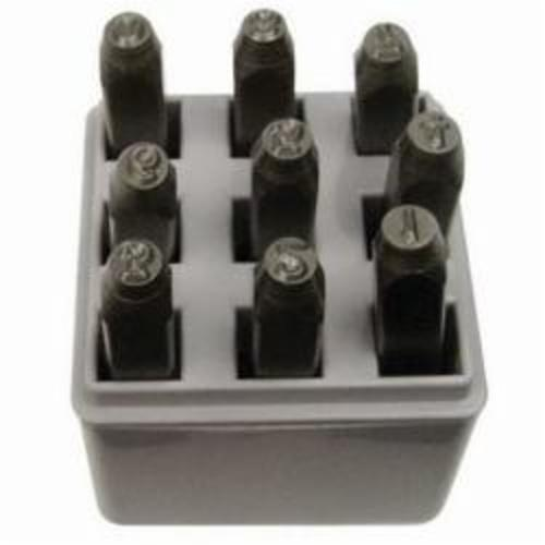 C.H.Hanson® 21340 9-Piece Heavy Duty Number Stamp Set, 0 to 9, 3/32 in H Character, 5/16 in Shank