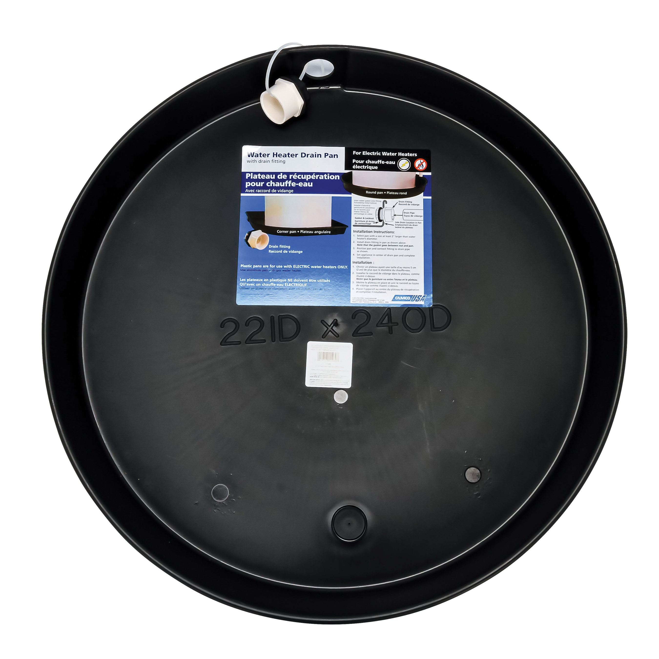 Camco 11460 Round Drain Pan, For Use With Electric Water Heater, Plastic, Domestic