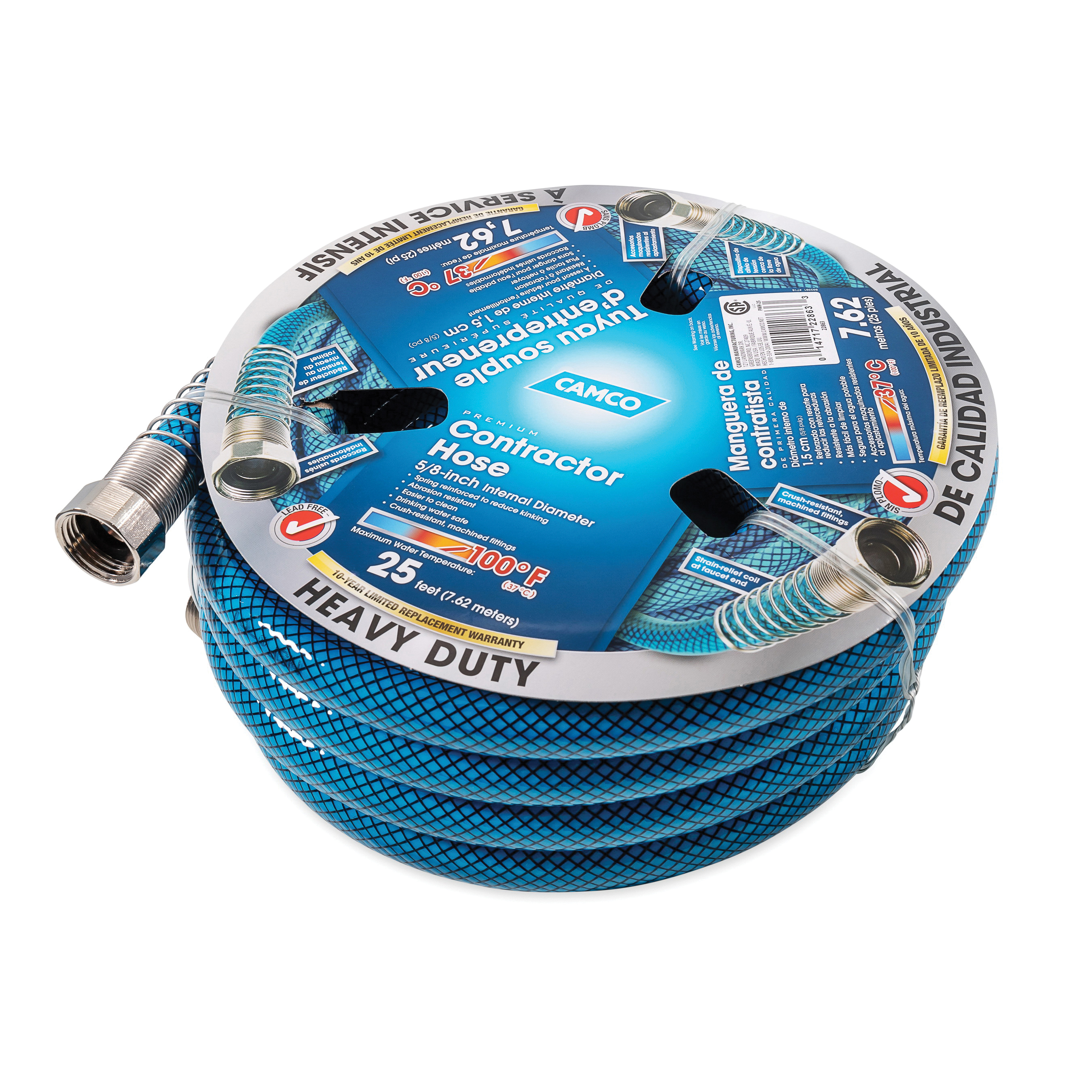 Camco 22863 Heavy Duty Contractor Hose, 5/8 in Nominal, 25 ft L, 300 psi Working, PVC, Domestic