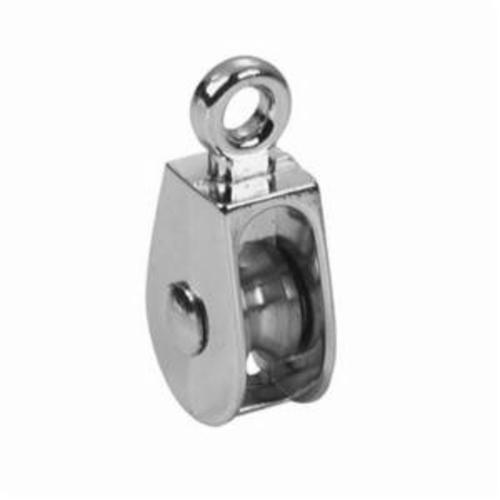 Campbell® T7655032 Single Sheave Swivel Eye Pulley, 1-1/2 in, 5/8 in, 50 lb, Die Cast Zinc, Triple Copper/Nickel Plated