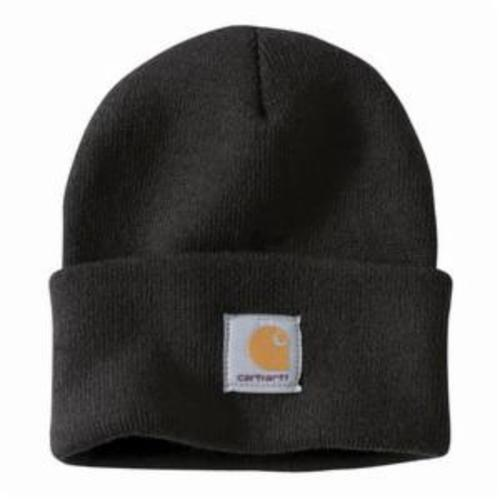 Carhartt® A164-BLK-OFA Men's Solid Unlined Knit Hat With Visor, Universal, Black, Acrylic Rib Knit Fabric