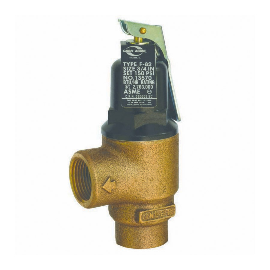 Cash Acme® 13570-0150 F-82 High Capacity Pressure Relief Valve, 3/4 in Nominal, FNPT End Style, 150 psi Pressure, Bronze Body, Domestic