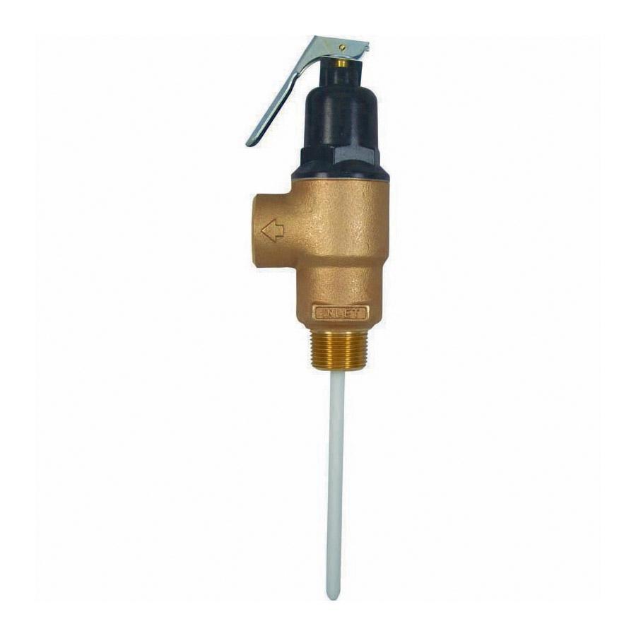 Cash Acme® 15638-0150 FVX High Capacity Combination Temperature/Pressure Relief Valve, 1 in, FNPT, 150 psi, Brass Body, Domestic