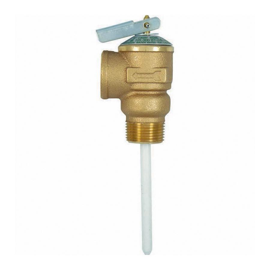 Cash Acme® 19783-0150 NCLX Combination Temperature/Pressure Relief Valve, 3/4 in Nominal, MNPT x FNPT End Style, 150 psi Pressure, Bronze Body, Domestic