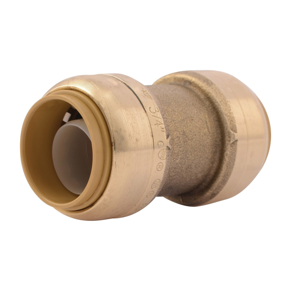 Sharkbite® U016LF Straight Pipe Coupling, 3/4 in Nominal, Push-Fit End Style, Brass, Natural Brass/Polished Chrome, Import