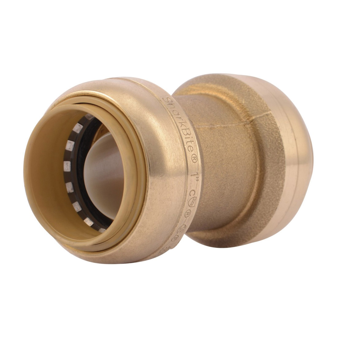 Sharkbite® U020LF Straight Pipe Coupling, 1 in Nominal, Push-Fit End Style, Brass, Natural Brass/Polished Chrome, Import