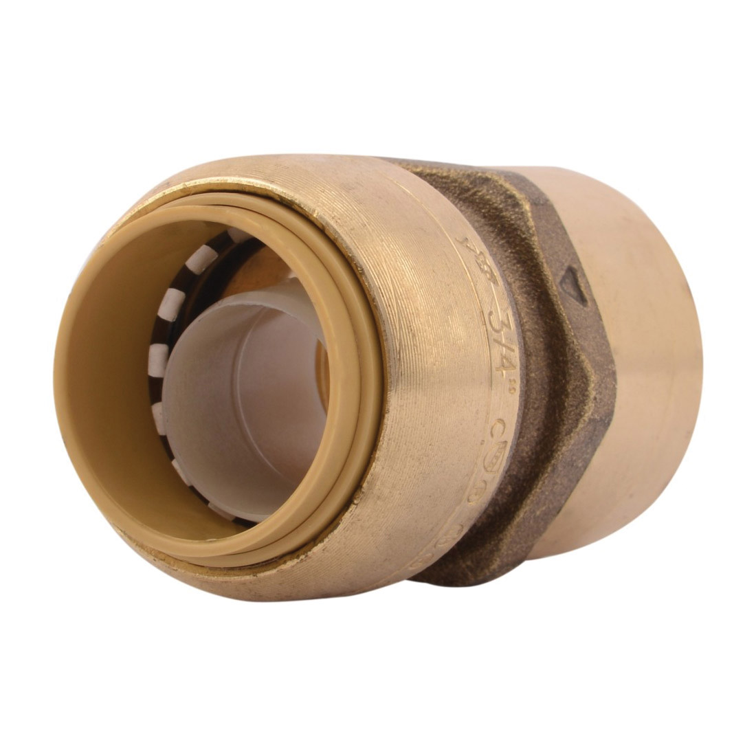 Sharkbite® U088LF Straight Female Connector, 3/4 in Nominal, Push-Fit x FNPT End Style, Brass, Natural Brass/Chrome Plated, Import