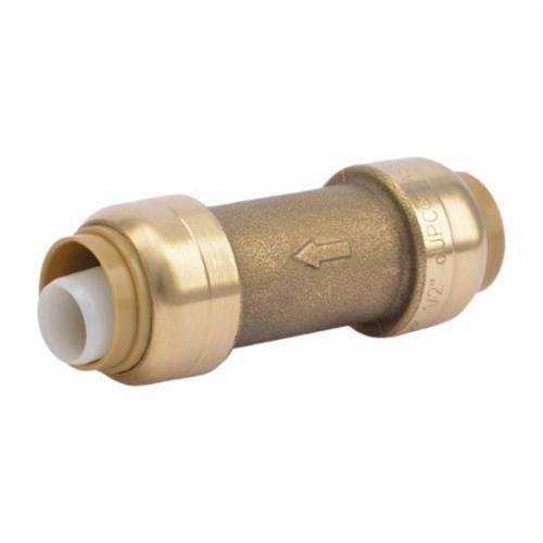 Sharkbite® U2008-0000LF General Purpose Spring Check Valve, 1/2 in Nominal, Push-Fit End Style, Brass Body, EPDM/Acetal/Polysulfone Softgoods, Import