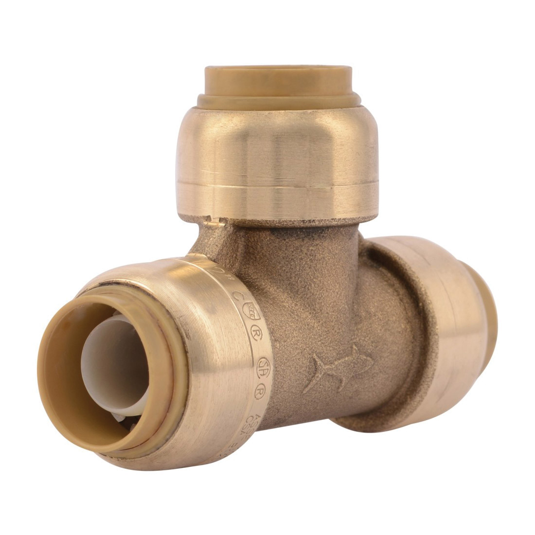 Sharkbite® U362LF Pipe Tee, 1/2 in Nominal, Push-Fit End Style, Brass, Natural Brass/Chrome Plated, Import