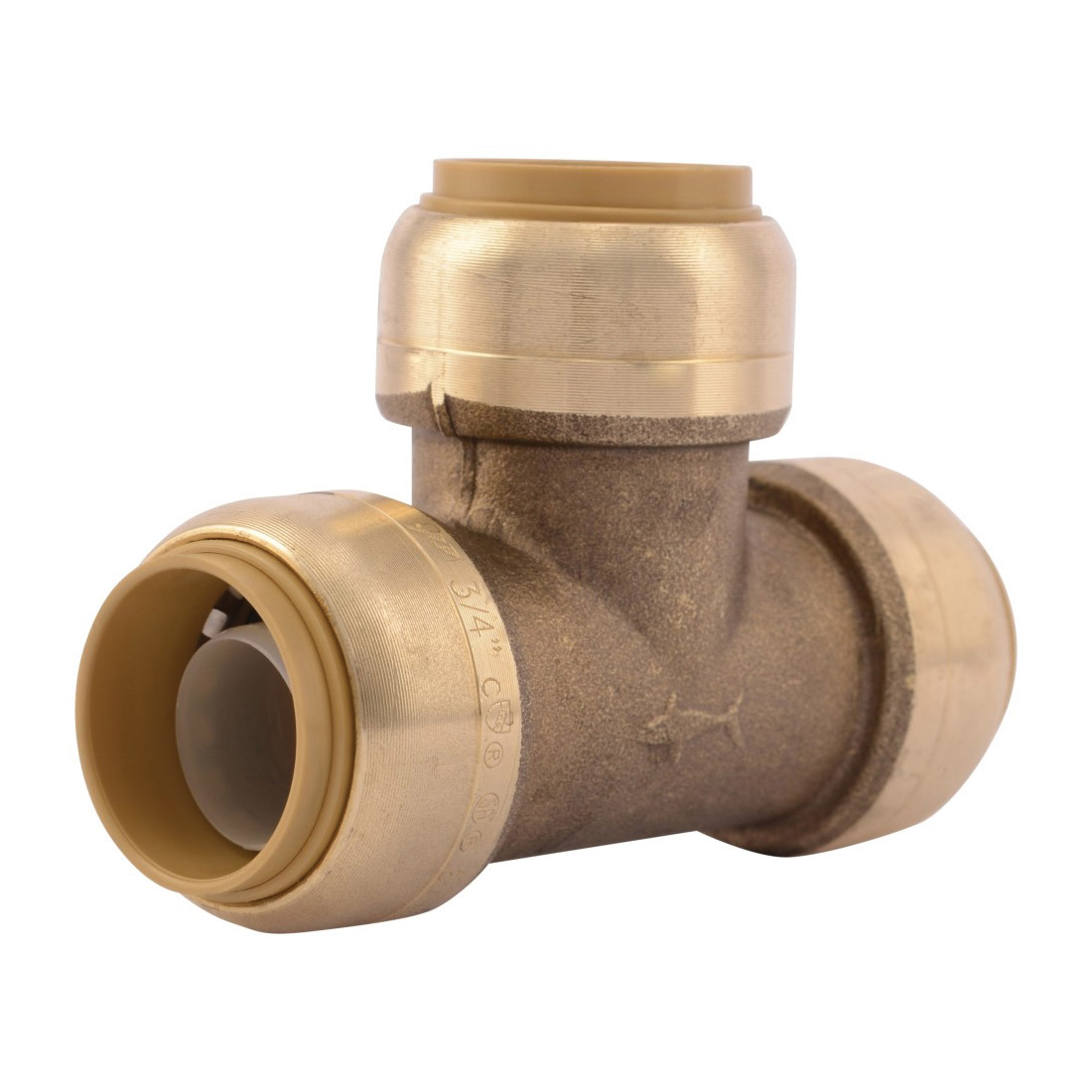 Sharkbite® U370LF Pipe Tee, 3/4 in Nominal, Push-Fit End Style, Brass, Natural Brass/Chrome Plated, Import