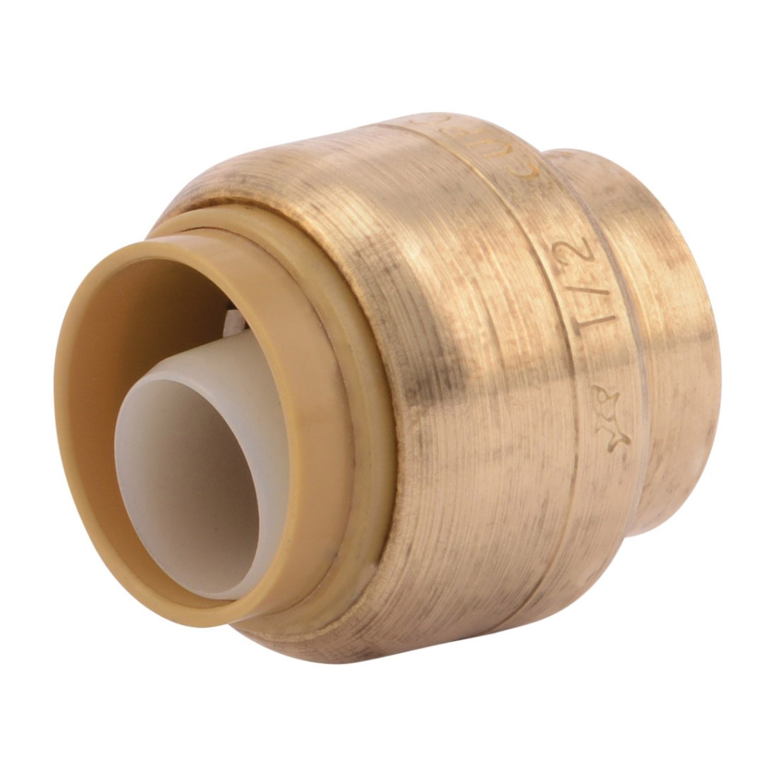 Sharkbite® U514LF Pipe End Cap, 1/2 in Nominal, Push-Fit End Style, Brass, Natural Brass/Chrome Plated, Import