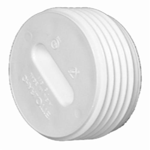 Charlotte PVC 00110 1000 Flush DWV Cleanout Plug, 4 in Nominal, MNPT End Style, SCH 40/STD, PVC, Domestic