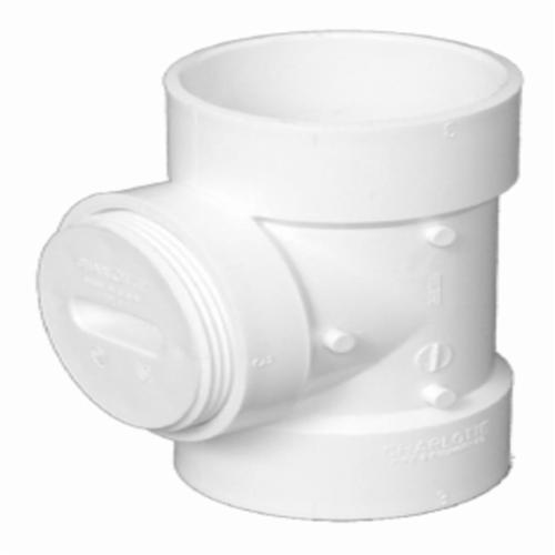 Charlotte PVC 00445X 0800 Flush DWV Cleanout Tee With Cleanout Plug, 3 in, Hub x Hub x FNPT, SCH 40/STD, PVC, Domestic