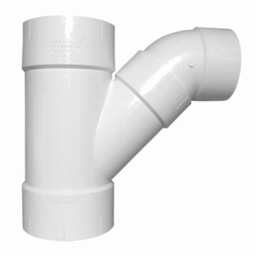 Charlotte PVC 00503 1000 2-Piece DWV Combination Wye and 1/8 Bend, 6 in Nominal, Hub End Style, SCH 40/STD, PVC, Domestic