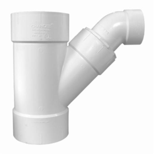 Charlotte PVC 00504 1400 2-Piece Combination Reducing Wye and 1/8 Bend, 6 x 6 x 4 in Nominal, Hub End Style, SCH 40/STD, PVC, Domestic