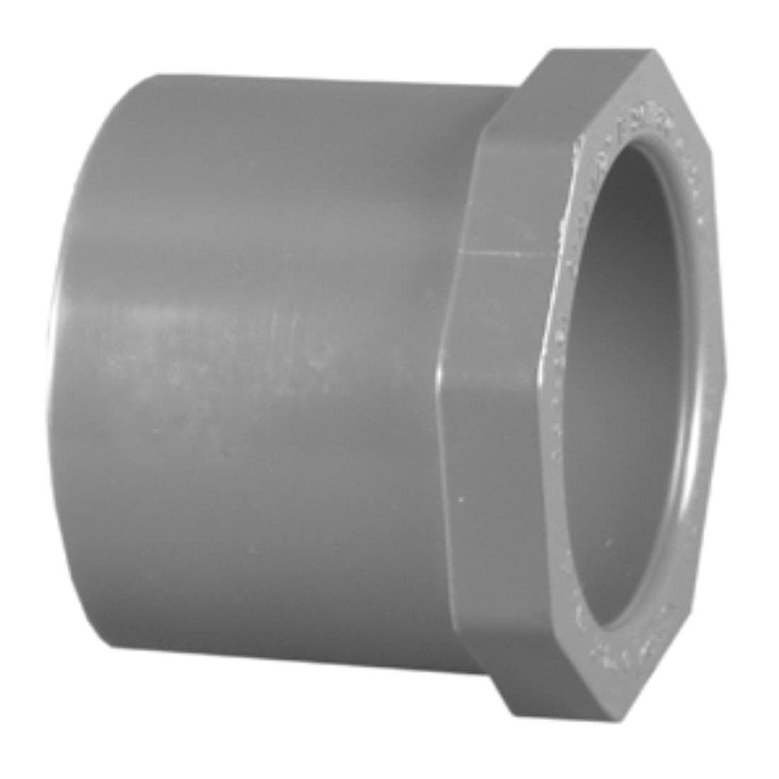 Charlotte PVC 08107 3000 Flush Reducing Bushing, 1-1/2 x 1-1/4 in, Spigot x Socket, SCH 80/XH, PVC, Domestic