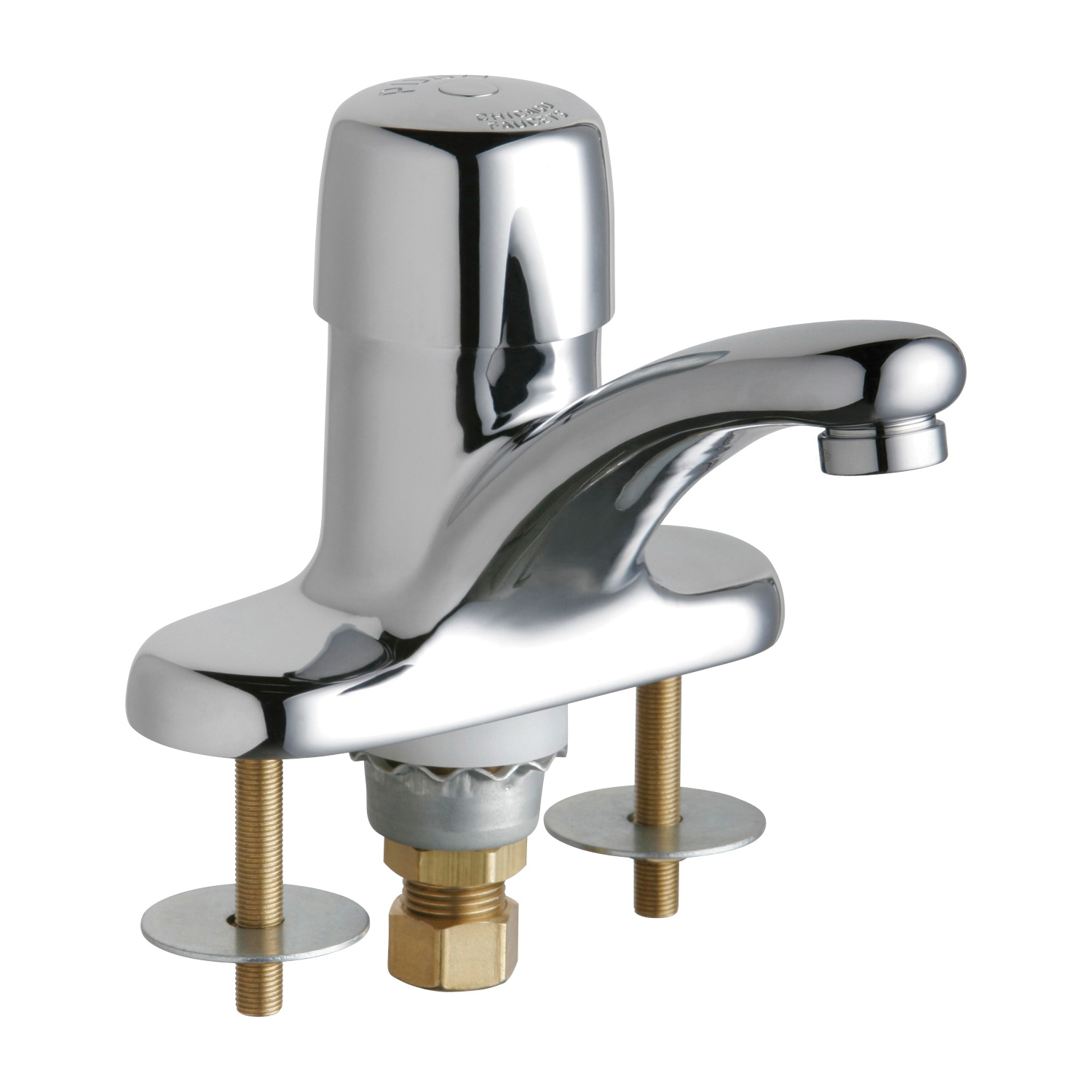 Chicago Faucet® 3400-ABCP Single Supply Metering Sink Faucet, Polished Chrome, 1 Handles, 0.5 gpm Flow Rate