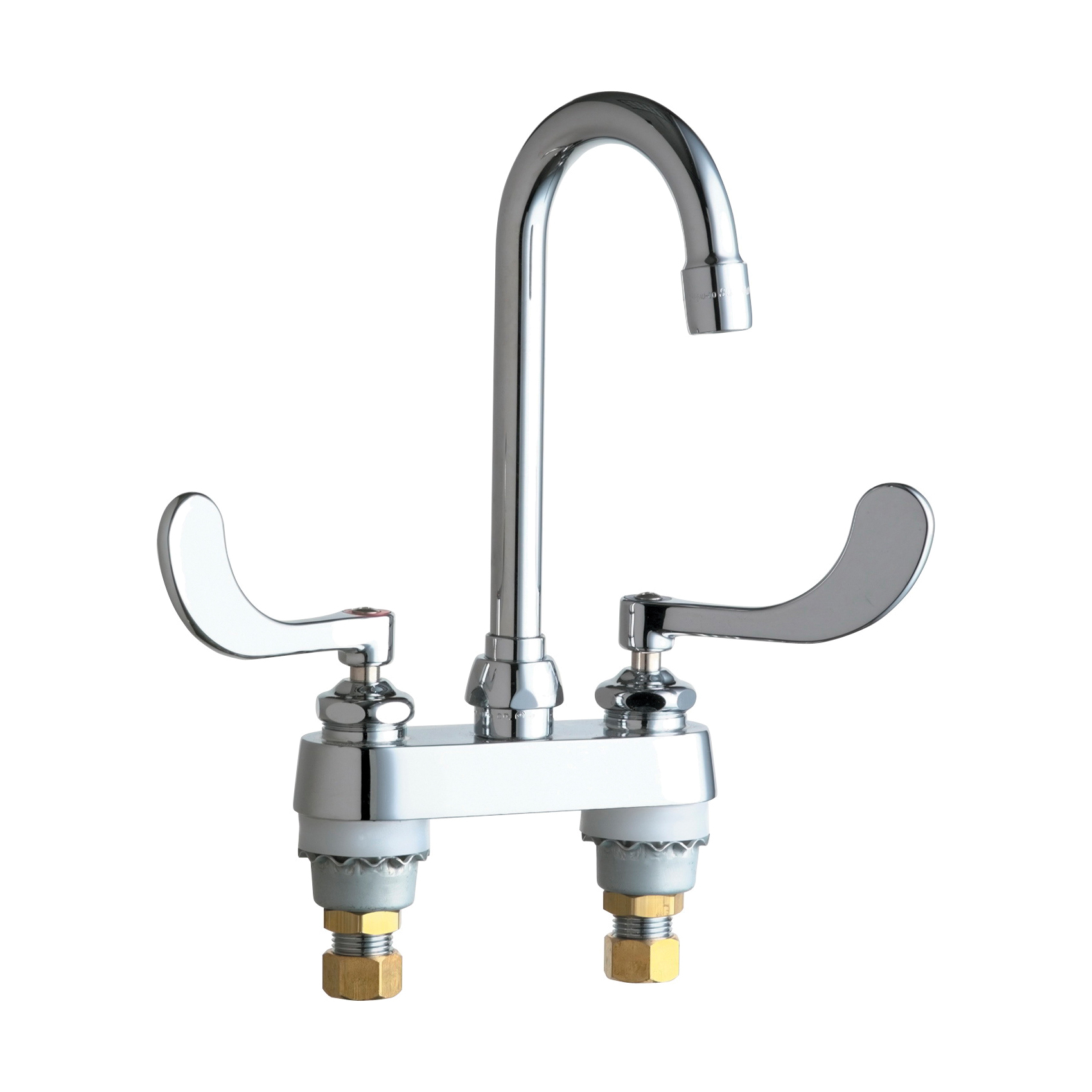 Chicago Faucet® 895-317E35ABCP Lavatory Sink Faucet, Polished Chrome, 2 Handles, 1.5 gpm Flow Rate