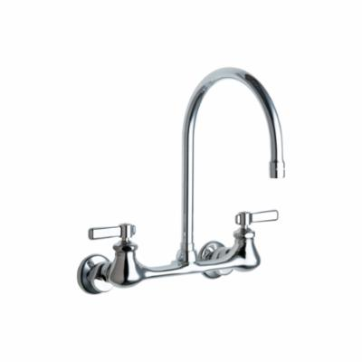 Chicago Faucet® 540-LDGN8AE35ABCP Hot and Cold Water Sink Faucet, 1.5 gpm Flow Rate, 8 in Center, Gooseneck Swivel Rigid Spout, Polished Chrome