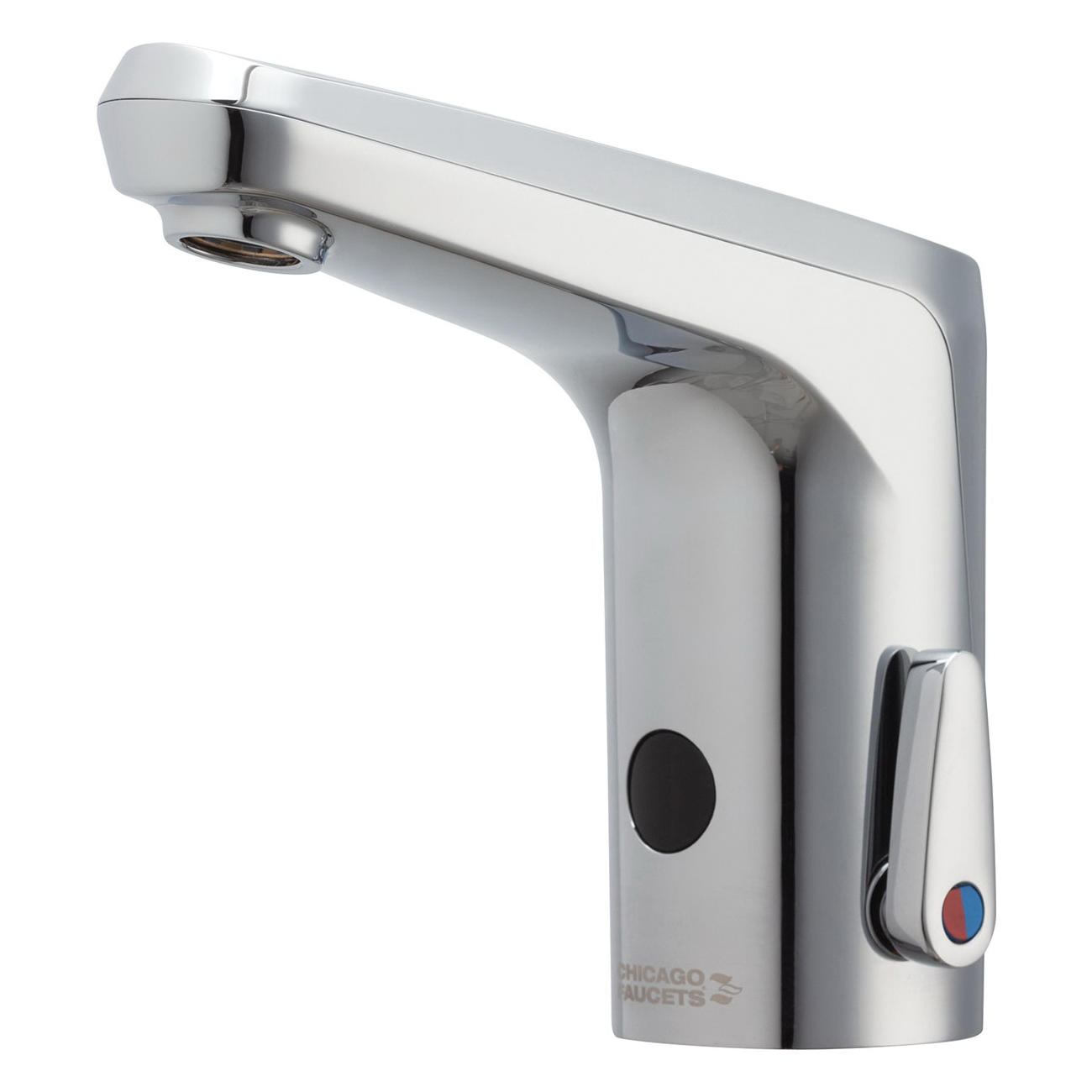 Chicago Faucet® E80-A11A-16ABCP E-Tronic® 80 Lavatory Faucet With Dual-Beam Infrared Sensor, Commercial, 0.5 gpm Flow Rate, 4-7/8 in H Spout, 1 Faucet Hole, Polished Chrome, Function: Touchless