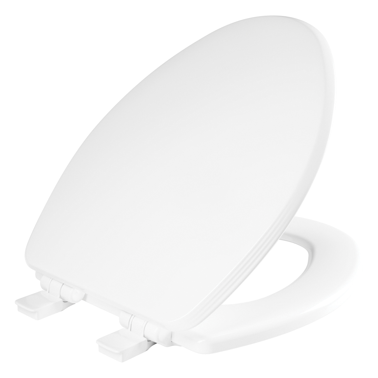 Church® 685E4 000 Toilet Seat With Cover, Ashland™, Elongated Bowl, Closed Front, Wood, Enamel High Gloss/White, Adjustable Hinge, Domestic