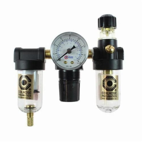 Numatics® FlexiBlok® F14D-02 FRL F14 Coalescing Filter, 1/4 in FNPT Port, 150 psi Pressure Range, 12 scfm Flow Rate, 0.3 micron, 40 to 120 deg F, Polycarbonate Bowl