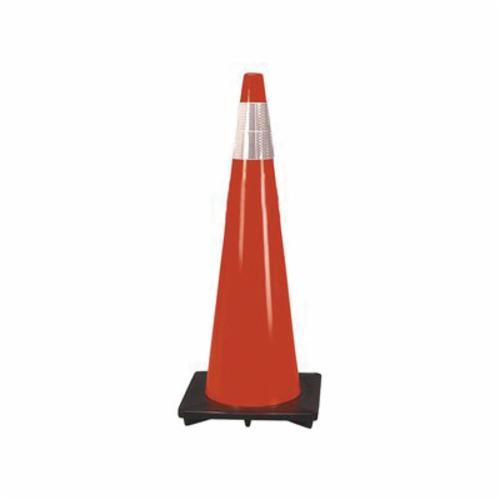 Cortina® 03-500-06 DW-Series Traffic Cone, 36 in H, Orange Cone, 2 Collars, Specifications Met: MUTCD Standard, NCHRP 350
