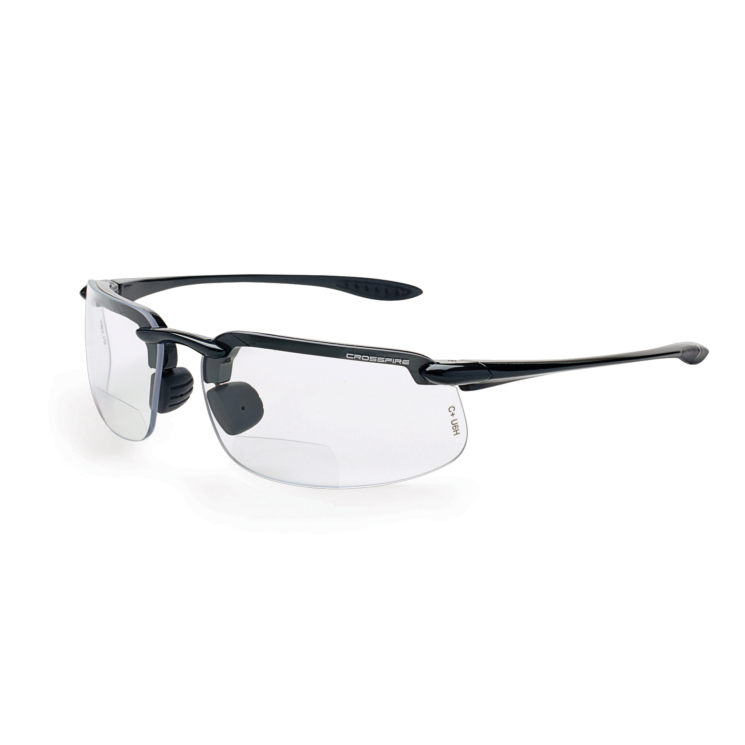 CrossFire® 216125 Bifocal Safety Glasses, +2.5 Diopter, Bronze Lens, Matte Black, TR90 Frame, Polycarbonate Lens, 99.9 % UV Protection, ANSI Z87.1