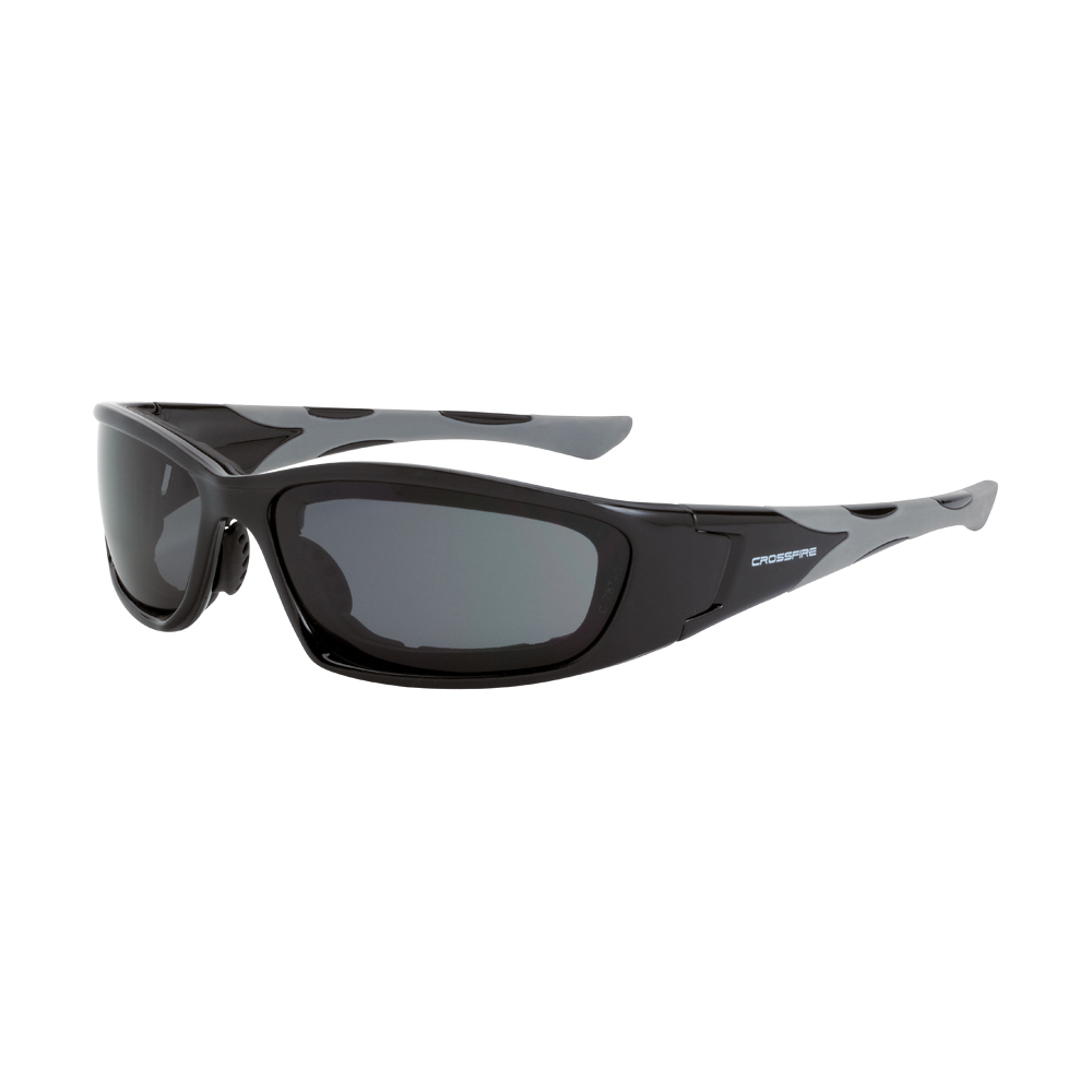 CrossFire® 2444 AF MP7 Safety Eyewear, Anti-Fog/Hard Coat/Impact Resistant, Clear Lens, Full Framed Frame, Black, TR90/Foam Lined Frame, Polycarbonate Lens, ANSI Z87.1+
