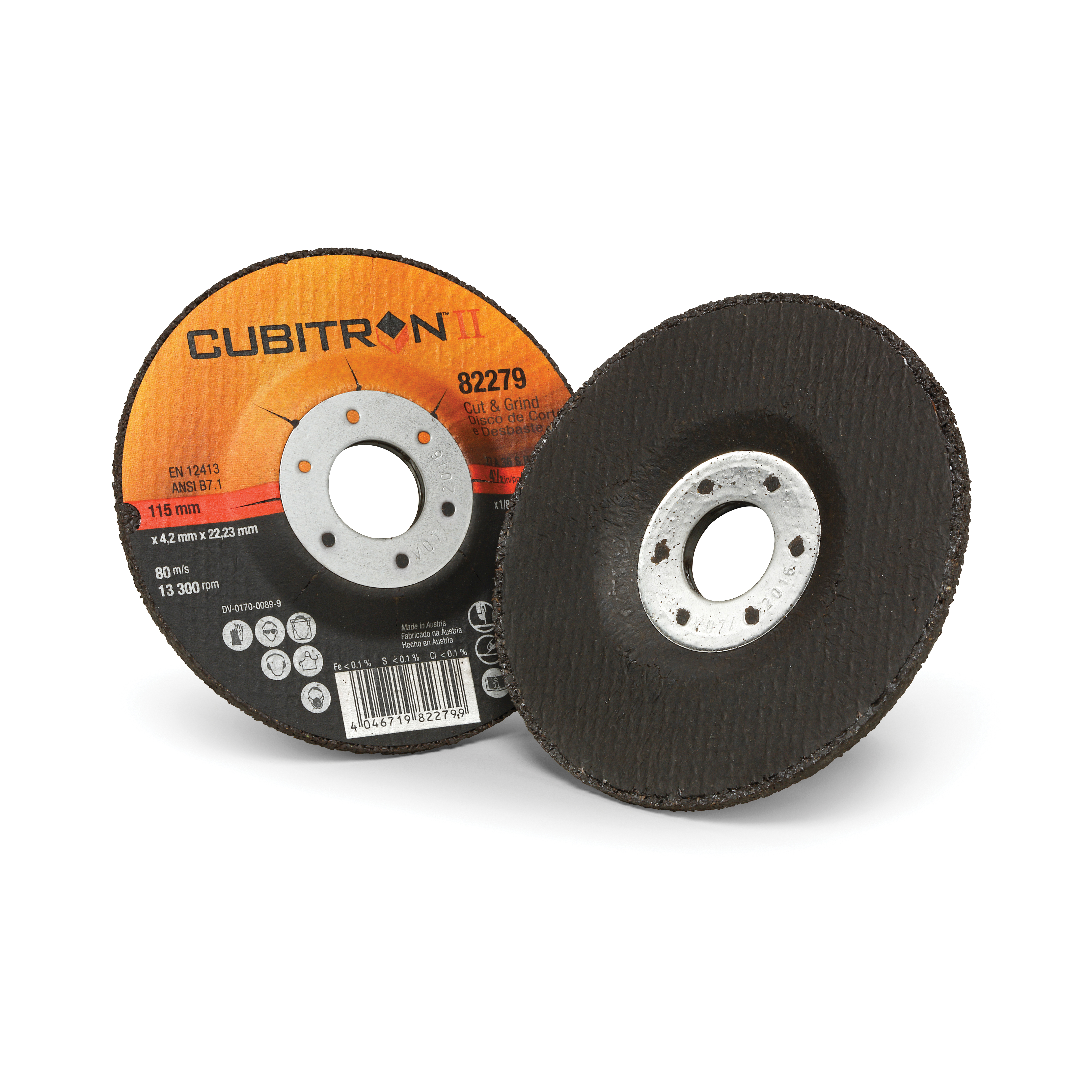 Cubitron™ II 046719-82278 Type 27 Cut-Off Wheel, 5 in Dia x 1/8 in THK, 7/8 in Center Hole, 36 Grit, Precision Shaped Ceramic Abrasive