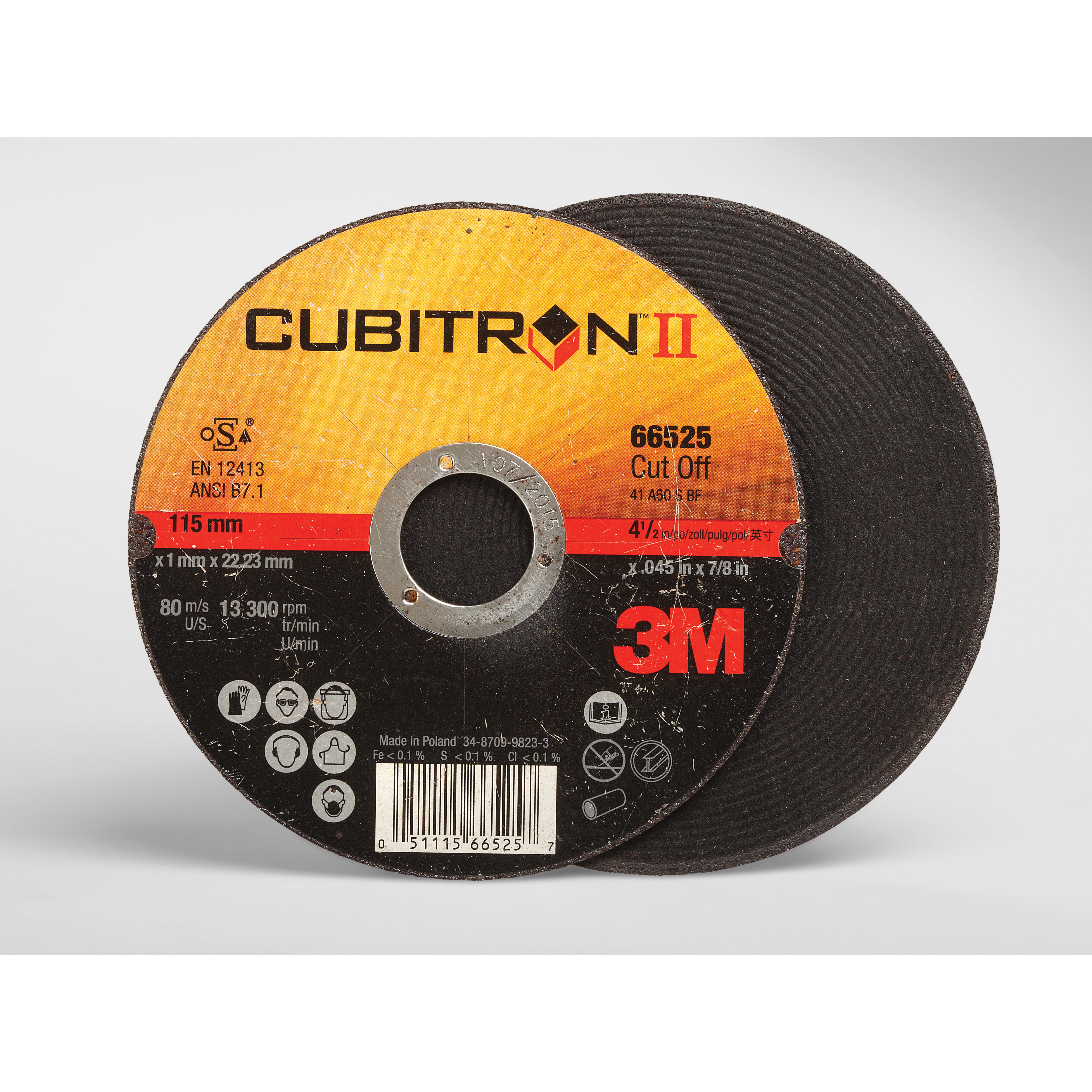 Cubitron™ II 051115-66524 COW Straight Rotary File, 4 in Dia x 1/8 in THK, 3/8 in Center Hole, 36+ Grit, Ceramic Abrasive