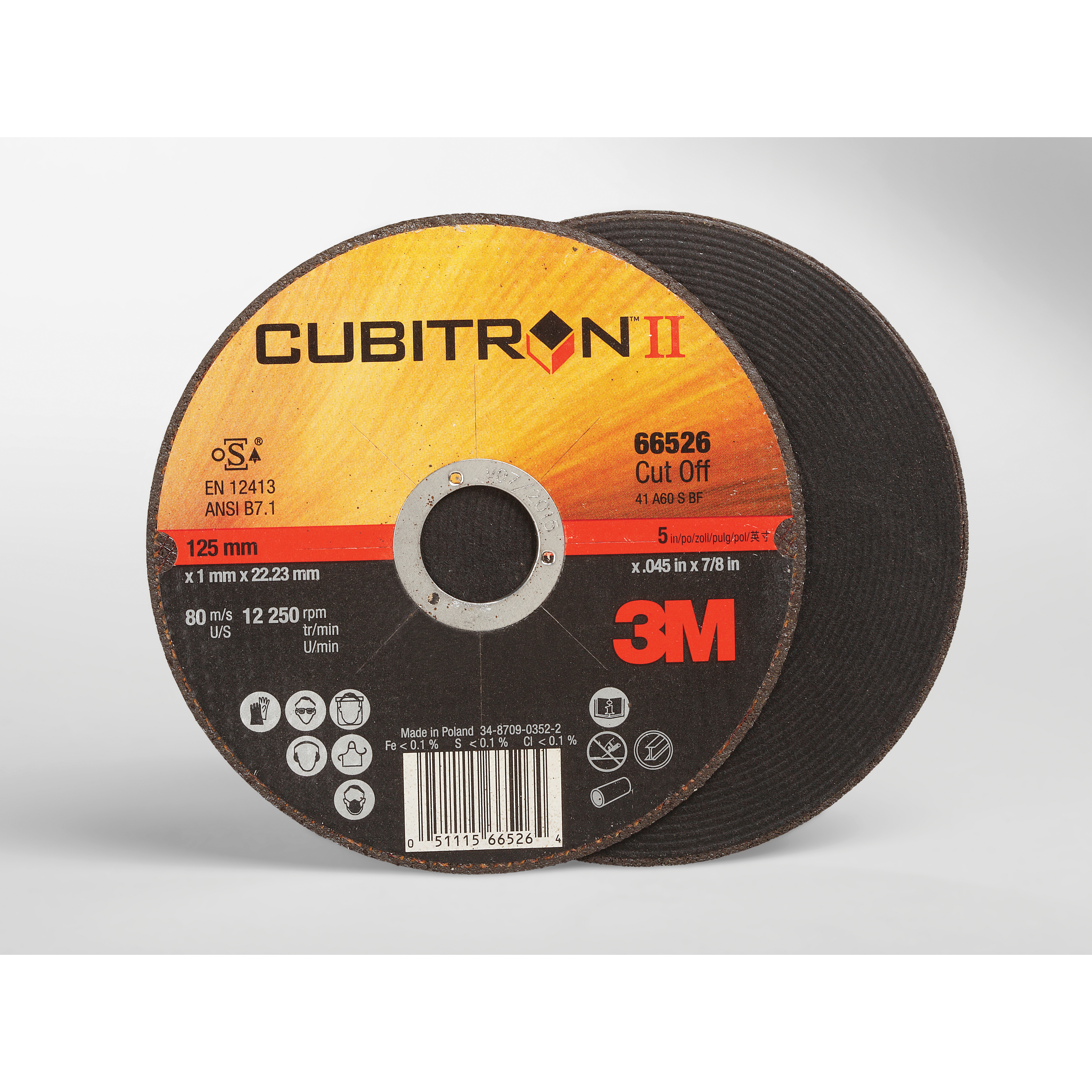 Cubitron™ II 051115-66525 COW Straight Wheel Brush With (2) 1/2 x 1/4 in Keyways, 4-1/2 in Dia x 0.045 in THK, 7/8 in Center Hole, 60 Grit, Ceramic Abrasive