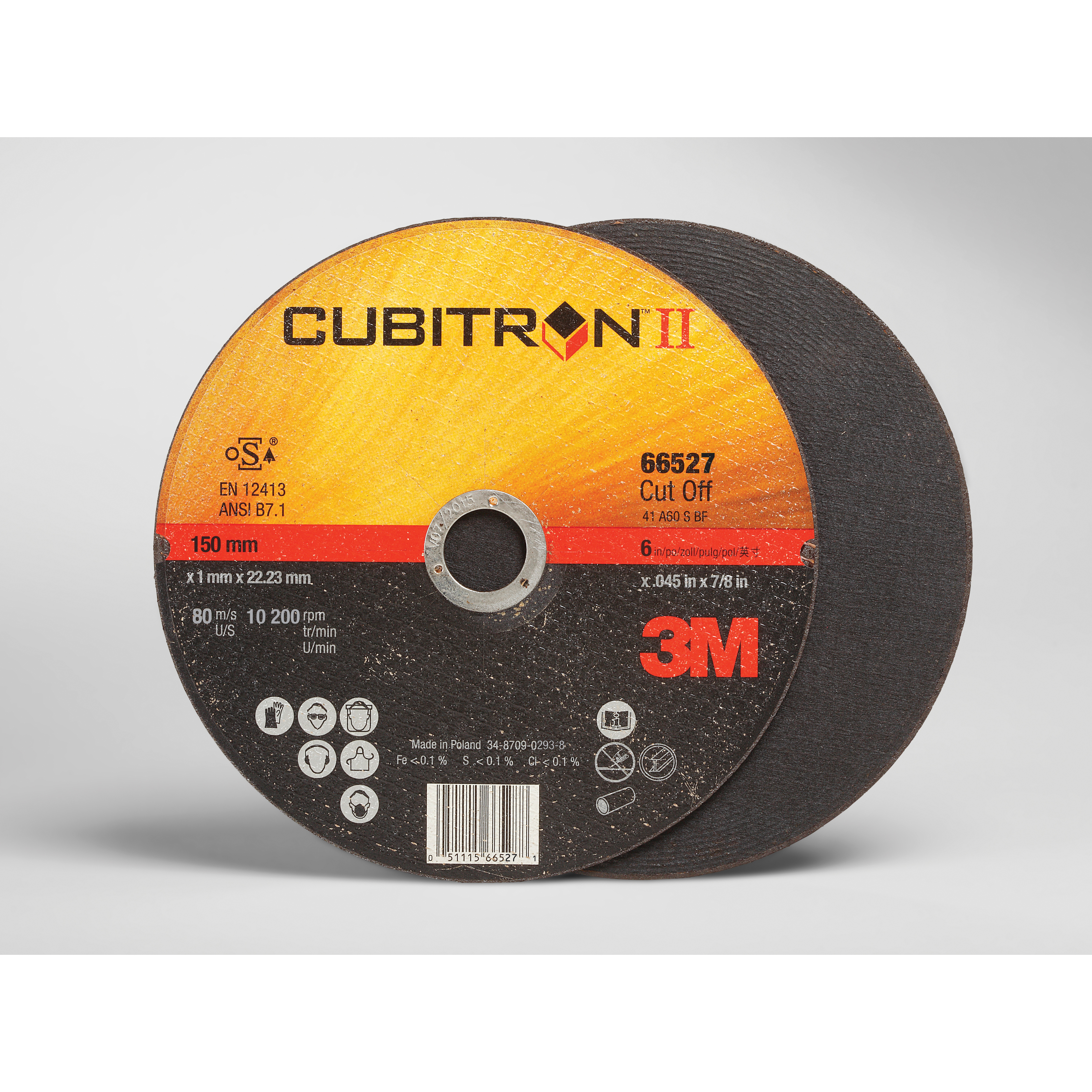 Cubitron™ II High Performance™ 051115-66526 COW Straight Cut-off Wheel, 5 in Dia x 0.045 in THK, 7/8 in Center Hole, 60 Grit, Ceramic Abrasive