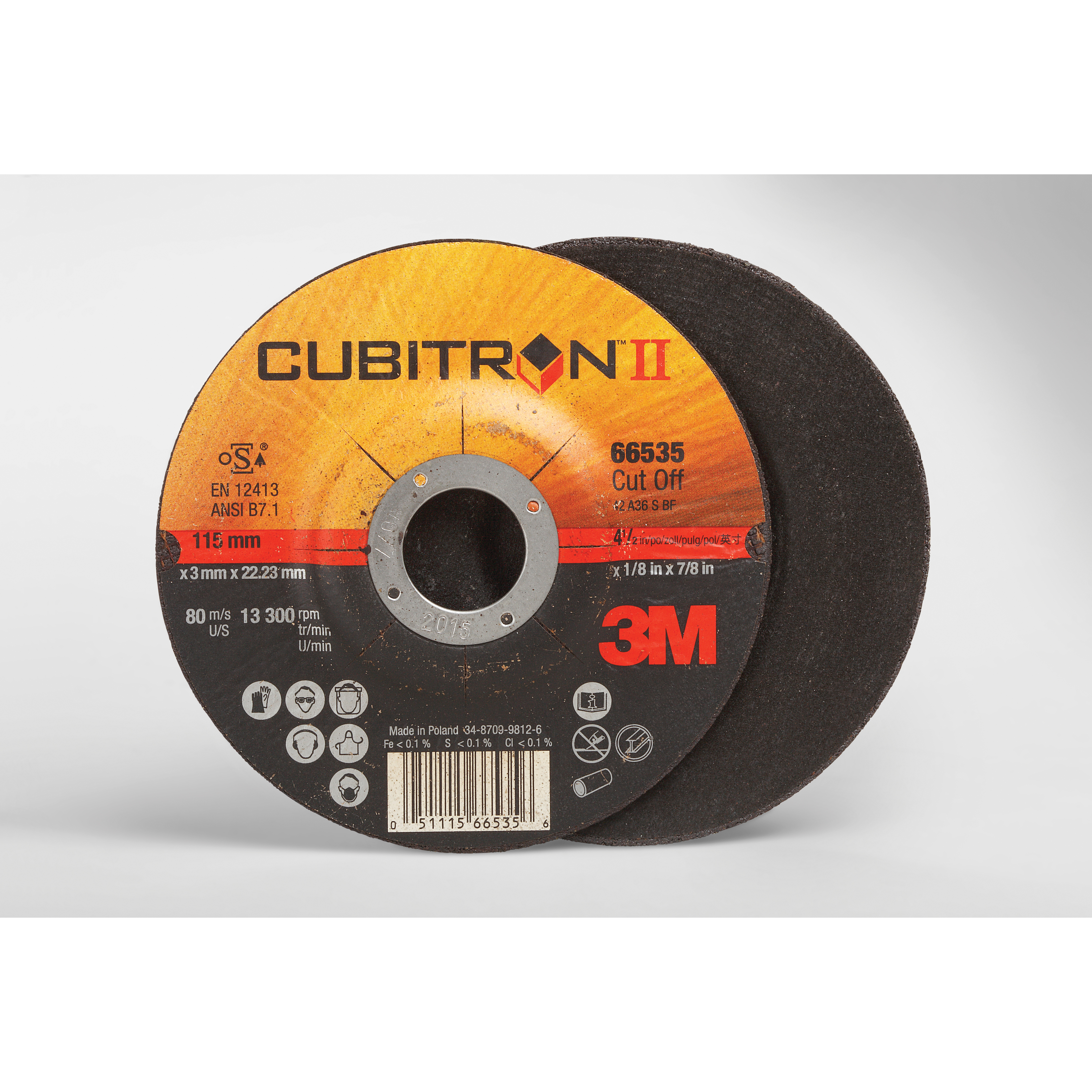 Cubitron™ II 051115-66530 COW Type 27 Cut-Off Wheel, 4-1/2 in Dia x 0.045 in THK, 60 Grit, Precision Shaped Ceramic Abrasive