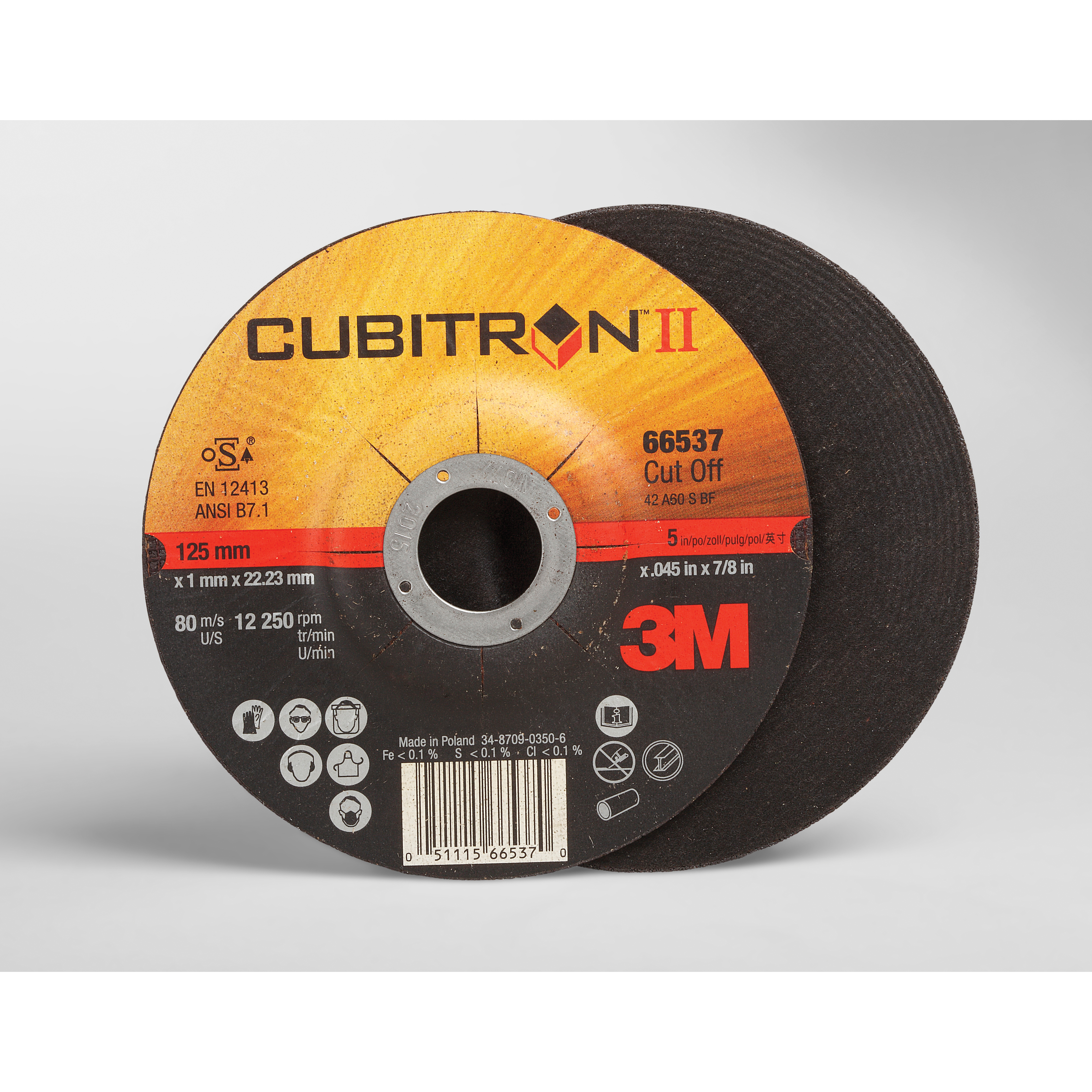 Cubitron™ II 051115-66535 COW Type 27 Cut-Off Wheel, 4-1/2 in Dia x 1/8 in THK, 7/8 in Center Hole, 36 Grit, Precision Shaped Ceramic Abrasive