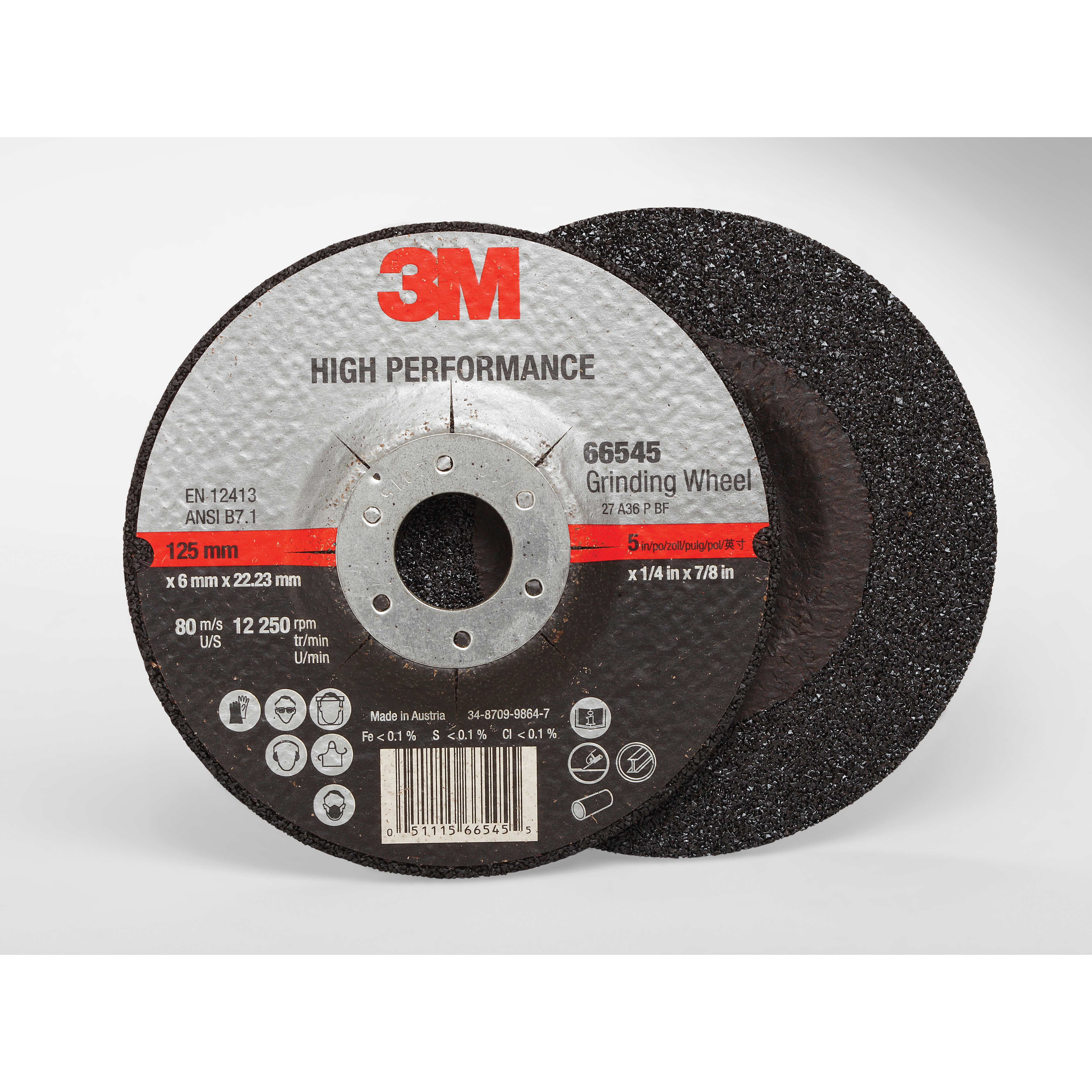 Cubitron™ II 051115-66544 High Performance Depressed Center Wheel, 4-1/2 in Dia x 1/4 in THK, 7/8 in Center Hole, 36+ Grit, Ceramic Abrasive