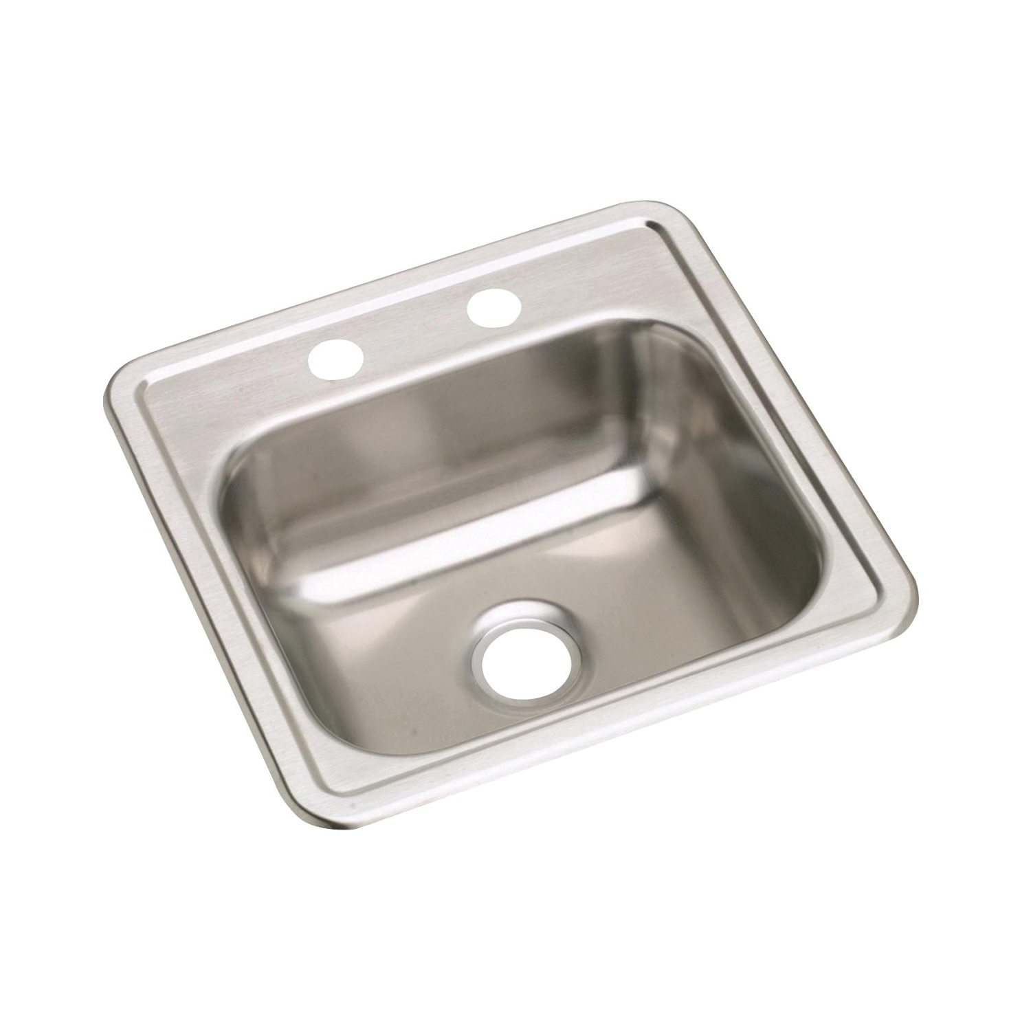 Elkay® D115152 Bar Sink, Satin, Squared Shape, 12 in L x 10 in W x 5 in D Bowl, 2 Faucet Holes, 15 in L x 15 in W x 5-3/16 in D, Top Mount, Stainless Steel