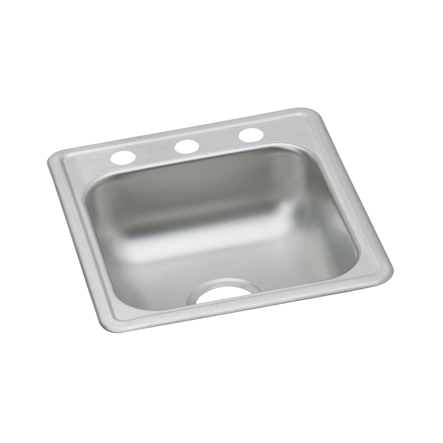 Elkay® D117193 Bar Sink, Rectangular, 14 in L x 14 in W x 6 in D Bowl, 3 Faucet Holes, 19 17 in L x 19 in W x 6-3/16 in D, Top Mount, Stainless Steel, Satin
