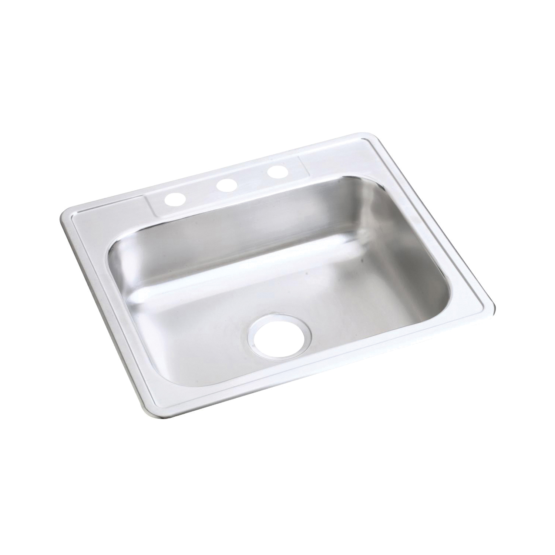 Elkay® D125223 Kitchen Sink, Dayton®, Rectangular, 21 in L x 15-3/4 in W x 6-3/8 in D Bowl, 3 Faucet Holes, 25 in L x 22 in W x 6-9/16 in H, Top Mount, Stainless Steel, Satin