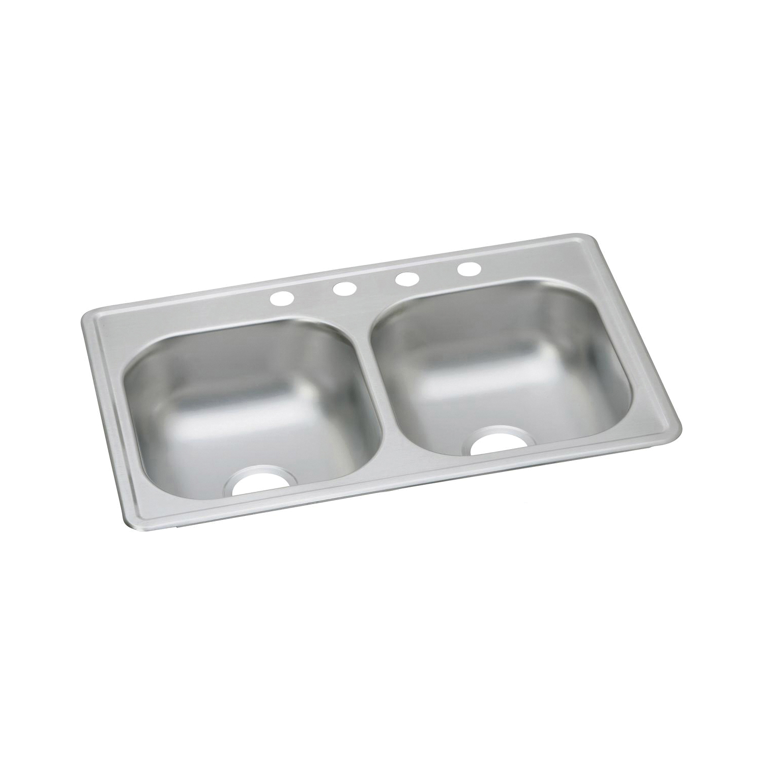 Elkay® D233193 Kitchen Sink, Dayton®, Rectangular, 14 in L x 14 in W x 6-5/16 in D Left Bowl, 14 in L x 14 in W x 6-5/16 in D Right Bowl, 3 Faucet Holes, 33 in L x 19 in W x 6-7/16 in H, Top Mount, Stainless Steel, Satin