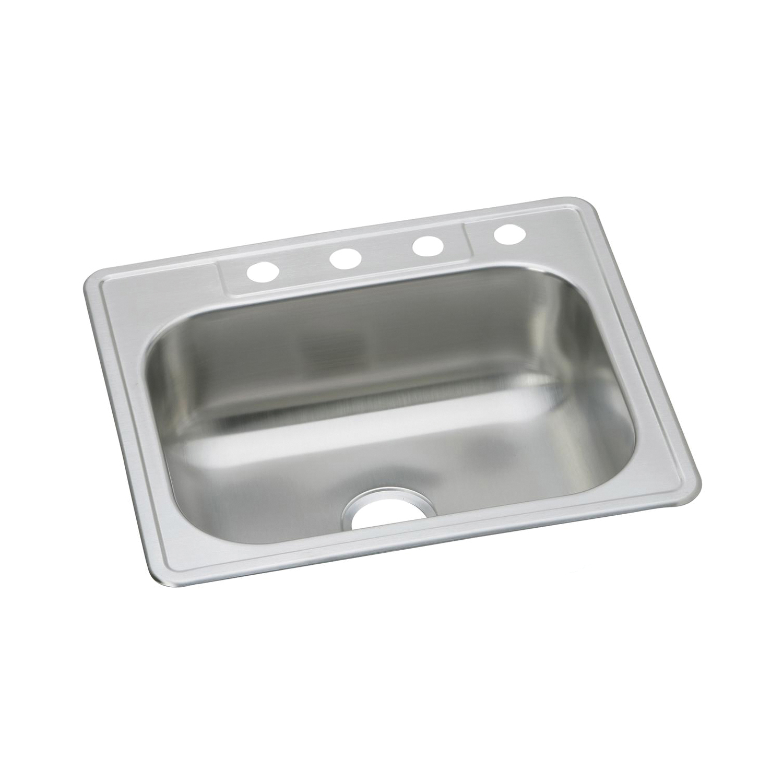 Elkay® DSE125221 Kitchen Sink, Dayton®, Rectangular, 21 in L x 15-3/4 in W x 8 in D Bowl, 1 Faucet Hole, 25 in L x 22 in W x 8-1/16 in H, Top Mount, Stainless Steel, Elite Satin