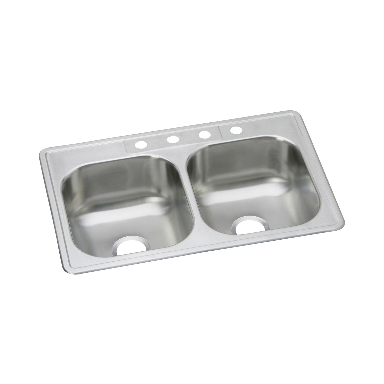Elkay® DSE233224 Kitchen Sink, Dayton®, Rectangular, 14 in L x 15-3/4 in W x 7-7/8 in D Left Bowl, 14 in L x 15-3/4 in W x 7-7/8 in D Right Bowl, 4 Faucet Holes, 33 in L x 22 in W x 8-1/16 in H, Top Mount, Stainless Steel, Elite Satin