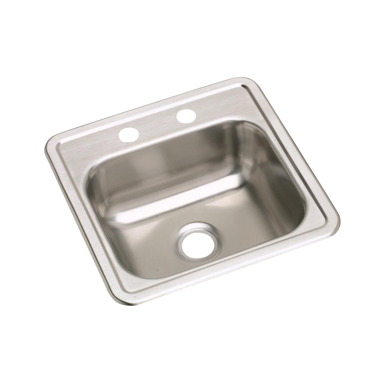 Elkay® K115152 Bar Sink, Satin, Squared Shape, 12 in L x 10 in W x 5 in D Bowl, 2 Faucet Holes, 15 in L x 15 in W x 5-3/16 in D, Top Mount, 23 ga Stainless Steel