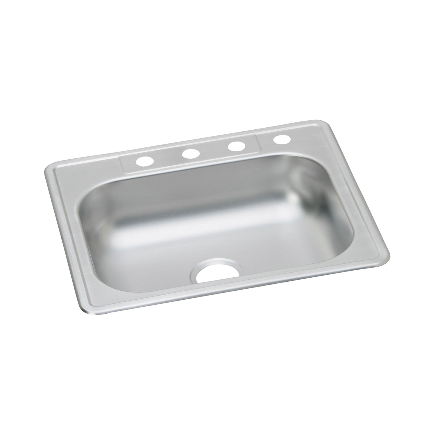 Elkay® K125223 Kitchen Sink, Dayton®, Rectangular, 21 in L x 15-3/4 in W x 5-7/8 in D Bowl, 3 Faucet Holes, 25 in L x 22 in W x 6-1/16 in H, Top Mount, Stainless Steel, Satin